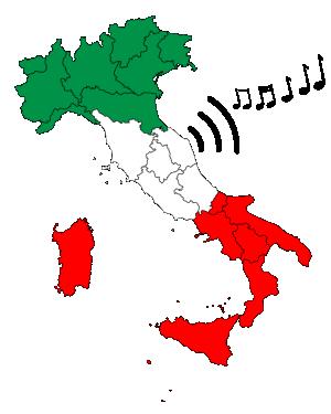 L'immagine rappresenta la mappa dell'italia divisa in regioni alla quale escono le tre onde tipiche che rappresentano il suono e a fianco di esse una serie di note musicali. L'immagine vuole rappresentare il fenomeno dell'italian sounding.