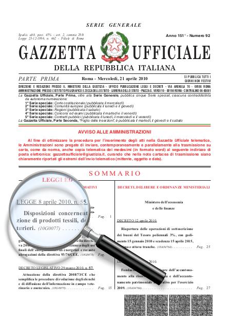 Gazzetta Ufficiale 21/04/2010 - Legge n° 55 08/04/2010